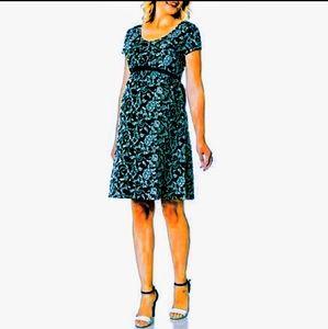 Motherhood Maternity Teal Jacquard Belted Dress M